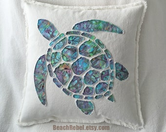 Sea turtle applique pillow cover in aqua turquoise green purple batik and bleached white distressed denim boho pillow cover 18""
