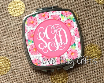 Pink floral * Script monogram * Personalized * Pocket mirror * Compact Mirror