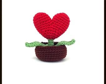 Crochet  heart in a pot , valentine gift,Valentine decoration,Mother day , wedding decoration