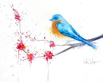 Bluebird - Cherry Blossoms - Original Watercolor Painting - Bird Art - Illustration - Painting - Art - Watercolor