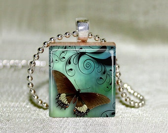 """Scrabble Jewelry - Butterfly with Turqoise 18 - Choose Pendant or Necklace - Butterfly Jewelry - Charm - 18"""" Chain"""