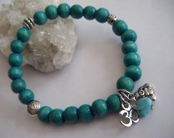 Spiritual Inspirational Healing Turquoise Wooden Mala Bracelet Wellness Oneness Cosmic Buddha Om Eco Beads Enlightenment Love Peace Kindness