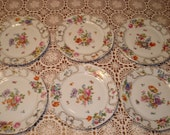 Victoria Czechoslovakia 202 Dresden Floral Dinner Plates, Set of 6