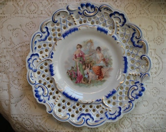 Imperial Germany Bavarian Dresden Style Pierce Plate with Cupid and Goddesses