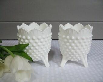 Fenton Milk Glass Hobnail Vase, Hobnail Spooner, Milk Glass Wedding, Flower Arrangement