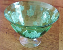 Snowflake Bowl Pedestal Emerald Green Glass with White Etched Snowflakes