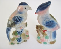 "Pair Blue Birds Ceramic Marked JAPAN Impressed, 4 3/4"" tall, Mini Collections"