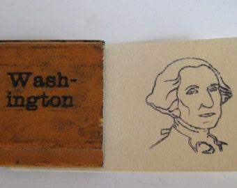 vintage wooden image stamp - Washington - President George Washington - old school stamp - rubber stamp - ink pad - art - print - art studio