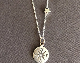 925 sterling Compass and star Necklace, Graduation Gift, Bon Voyage Gift, ompass necklace, bridesmaid compass jewelry, going away gift