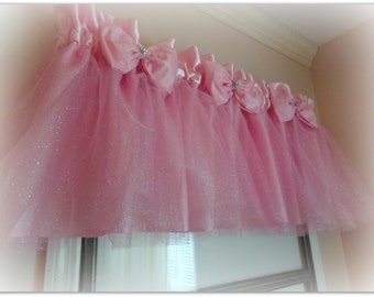 Girl's room Valance - Iridescent Tulle with 3 layers and bows with sparkle centers,  Nursery!