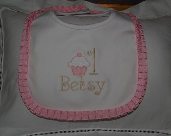 Baby Girl Cotton Heriloom Cupcake Bib For First Birthday