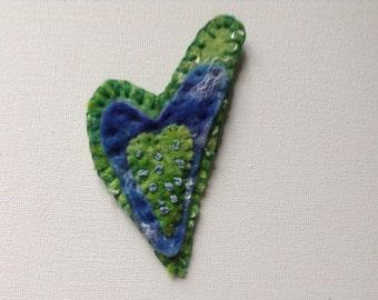 Handmade felt brooch, heart shaped brooch, green and blue brooch