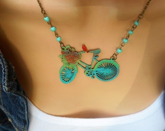 Bicycle Necklace, Painted Bicyle Necklace, Bike Bird Necklace, Boho Bike Necklace