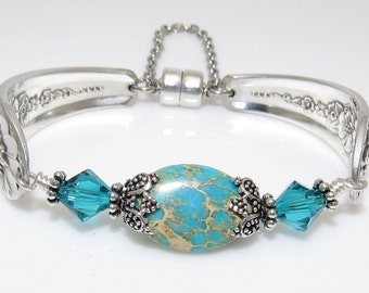 Handcrafted Satin Finish Spoon Bracelet Beaded with Turquoise Jasper, Swarovski Crystals
