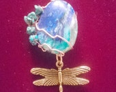 Azurite Cabochon Tree of Life Pendant, Azurite with Chrysocolla,Malachite in Chalcedony accented with Turquoise nuggets and  dragonfly totem