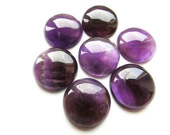 Natural Amethyst Cabochon 20 mm Round Cabochon Purple Gemstone Cabochon Amethyst Flat Back Supplies 1 pcs