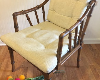 FAUX BAMBOO Chair Arm Chair Cushions and Fretwork/Living Room/Dining Room/Bedroom/Faux Bamboo Classic Chair/Chinoiserie at Ageless Alchemy