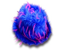 Fake Fur Fedora Hat Blue/Pink Monster Spike Luxury Fur New Years Accessories Festival Gangster/Pimp Trilby Hat Cover Halloween Costume Men