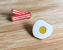 YUM   Breakfast Bacon & Eggs Enamel Lapel Pins - A Set Of Two