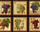 Elizabeth's Studio Fabric Italian Vineyard Panel Wine Grapes Quilting Sewing Crafting 100% Cotton