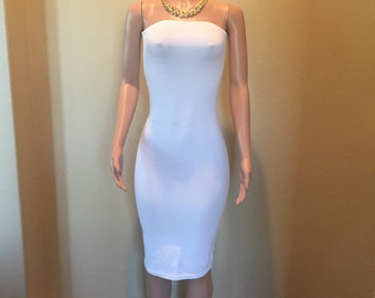 White knit tube pencil dress