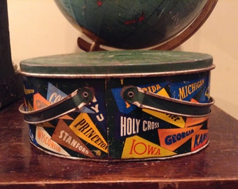 Ohio Art Lithograph Lunch Pail Featuring College/University Pennants