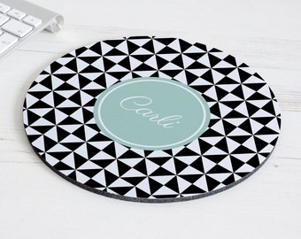 Pinwheel Print Mouse Mat – personalised mouse pad – round mousepad – desk decor - personalized graduation gift - coworker gift - p12
