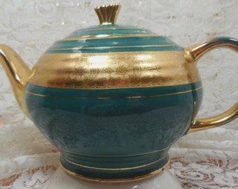 Beautiful  Sadler Teapot - Made in England Embossed Gold and Green - Lots of Gilding.