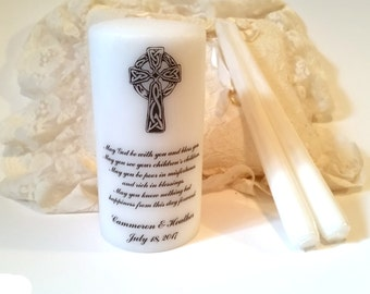 Wedding Candle Set, Irish Blessing Unity Candle, Unity Candle Set, Irish Unity Candle, Celtic Unity Candle, Personalized Unity Candle