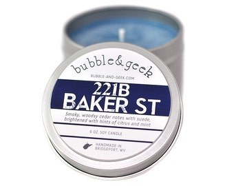 221B Baker Street Scented Soy Candle - 6 oz. tin - Sherlock Holmes