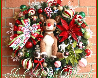 2016 PRE-ORDER Rudolph Christmas Wreath, Island of Misfit Toys, Santa, Red-nosed, pre-lit, limited availability--Made To Order