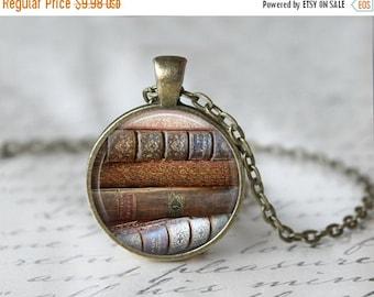 Book Necklace - Library Necklace - Library Book Necklace - Librarian Necklace - Glass Dome Pendant - Literary Jewelry - Book Pendant 159