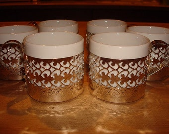 Set Of Twelve Demitasse / Espresso / Cappuccino White Ceramic Cups With Silver Plated Holders