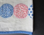Handmade Table Runner Vintage 1940s Red and Blue Handstitched