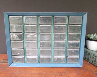 Metal Shop Storage Vintage Organizer Drawers and Cabinet 25 Drawers