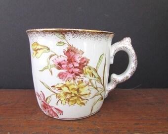 Vintage Coffee Mug John Maddock Royal Vitreous England Pink and Yellow Transferware