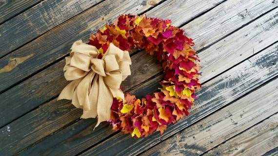 Large Leaf Wreath, Large Fall Leaf Wreath, Large Colorful Leaf Wreath