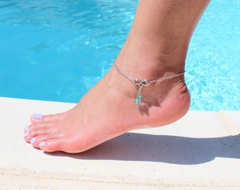 Infinity Anklet with Turquoise Crystal