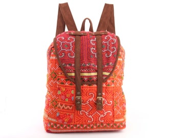 Large Exotic Dazzling Orange/Green Backpack Oriental Traditional Hand Stitched Textile