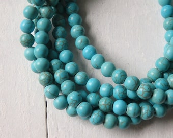 6mm Turquoise howlite beads - strand of dyed howlite beads, 6mm turquoise beads, small turquoise howlite, Boho jewelry supplies, turquoise