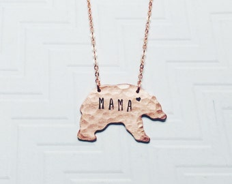 Mama Bear Necklace - Hand Stamped Necklace - Gift For Mom - Gift For Her - Mothers Day Gift - Copper Rose Gold - Heart
