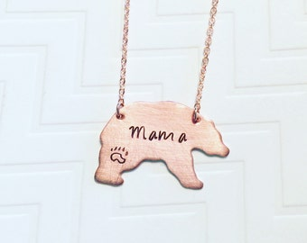 Mama Bear Necklace - Hand Stamped Necklace - Gift For Mom - Gift For Her - Copper Rose Gold - Paw Print