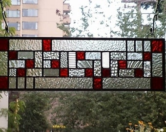 Modern Red Stained Glass Window Panel