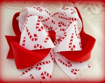 Candy Cane Hair Bow....Red and White Hair Bow...Red and White Bow...Christmas Hair Bow