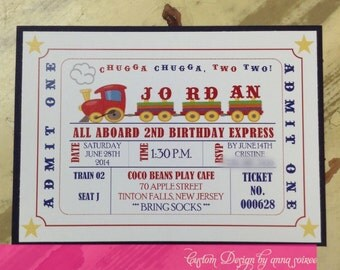 INVITATIONS - TRAIN THEME - all aboard! for the cutest train invitation ever!  Great for any birthday!