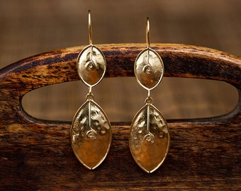 Hand made sterling silver gold plated ''leaves'' earrings