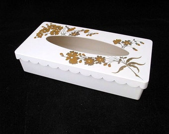 Off White  Plastic Tissue Box with Two Toned Gold Flowers and Scalloped Edge Vintage 1950s