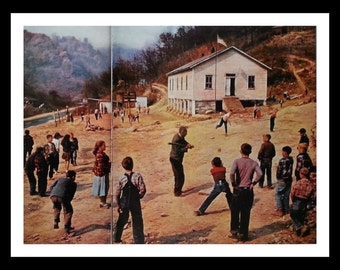 Americana Baseball at Recess One room Schoolhouse.  Rockwell Like Photo.  Innocence Play Kids On Playground.  2 pages Ready to Frame