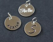 "Sterling silver initial charm, name charm, round tag -personalized hand stamped disc - 12.7mm round (1/2"")"