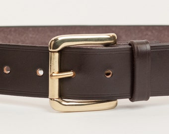 Dark Brown Bridle Leather Belt with 1.5 inch Roller Buckle